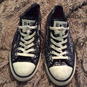 Black and silver sequin converse, rare. Used